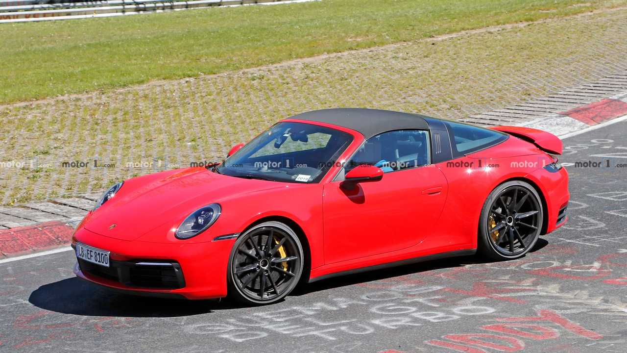 2020 Porsche 911 Targa Spied Looking Regal In Red At The 'Ring