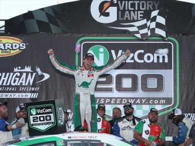 Streak over: Michael Self uses a last lap pass to win ARCA race at Michigan