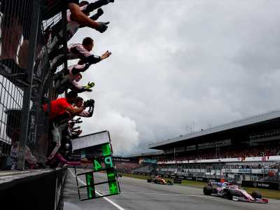 Near miss: Racing Point's Lance Stroll leads before settling for fourth-place finish at F1 German Grand Prix