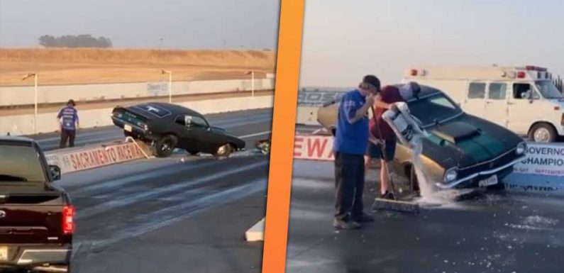 Ford Maverick Drag Racer Immediately Crashes Into the Lights on 'Mustang Night'