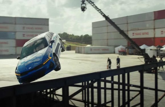 Watch A Kia K5 Land A Flat Spin 360-Degree Jump Between Two Ramps