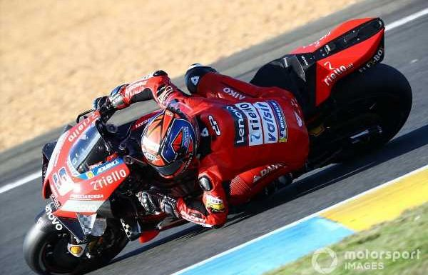 Le Mans MotoGP: Petrucci wins wild wet race from Marquez