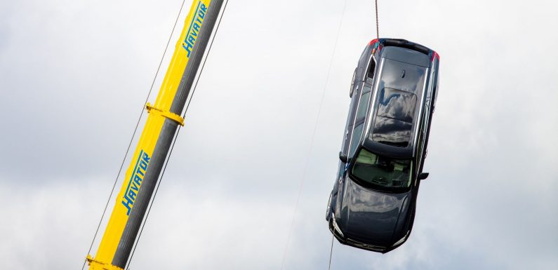 Volvo Drops Cars From a Crane For Rescue Training