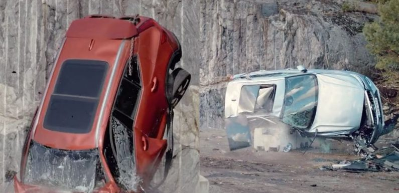 Volvo Dropped A Bunch Of Cars From A Crane, Because Safety
