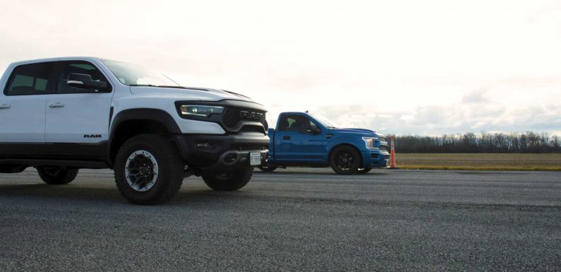 Ram TRX Tastes Shelby F-150 Super Snake Venom In Supertruck Drag Race