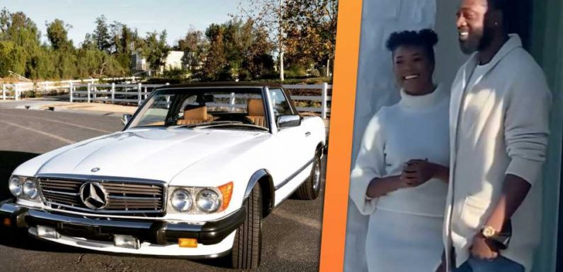 Dwyane Wade Looks Genuinely Thrilled to Get a 1988 Mercedes-Benz 560SL for His Birthday