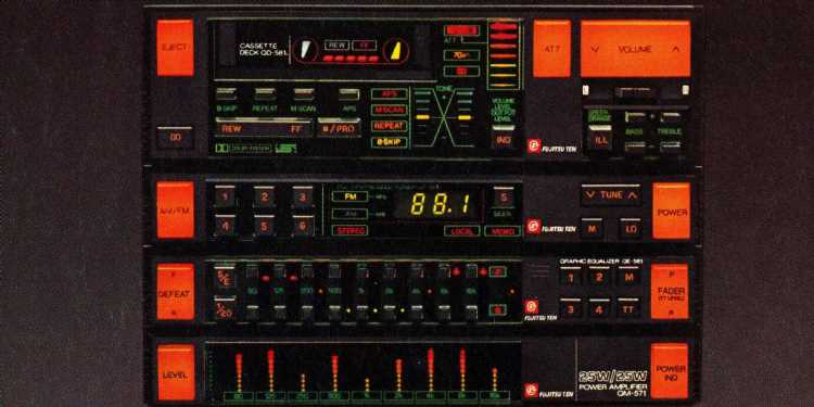 1986 Fujitsu Ten Audio System More Complicated than the Space Shuttle