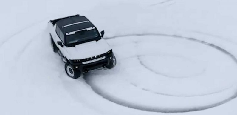 Watch GMC Hummer Electric Truck Quietly Create Powdered Donuts