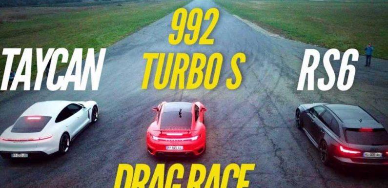 Watch Porsche 911 Turbo S Smoke Taycan, Audi RS6 In A Long Drag Race