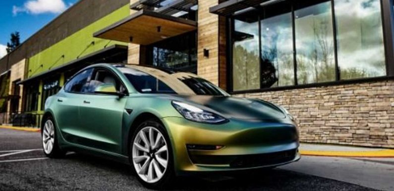 Check Out This Unique Green Color-Changing Tesla For St. Patty's Day