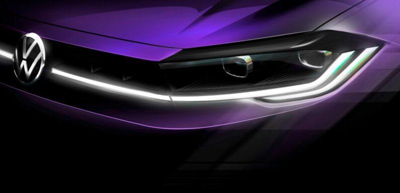 Mk6 Volkswagen Polo facelift teaser image released – new nose, full-width LED DRLs, April 22 world debut – paultan.org