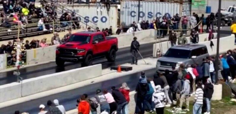 Sleeper Ford Flex Embarrasses a 702-HP Ram 1500 TRX at the Drag Strip