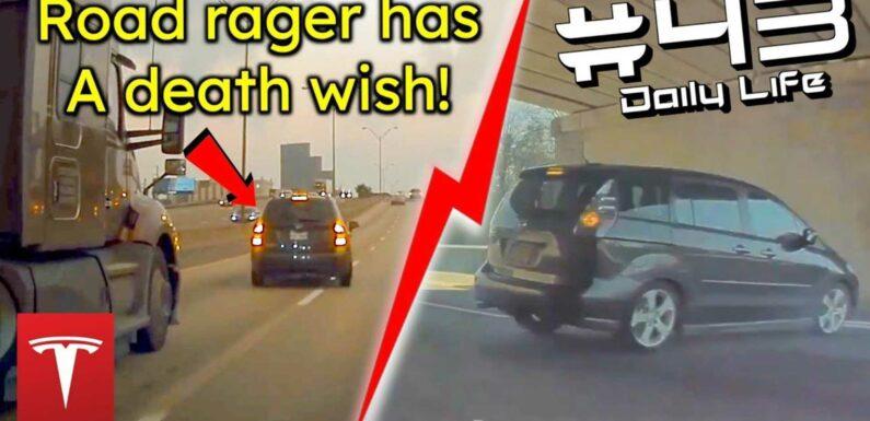 TeslaCam Captures Road Rager Cutting Off, Brake-Checking A Semi