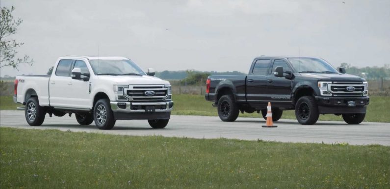 Watch Hennessey VelociRaptor 700 Drag Race A Stock Ford F-250