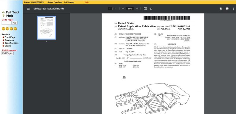 Toyota And Subaru April 1st Patents Show Plans For Electric Sedan