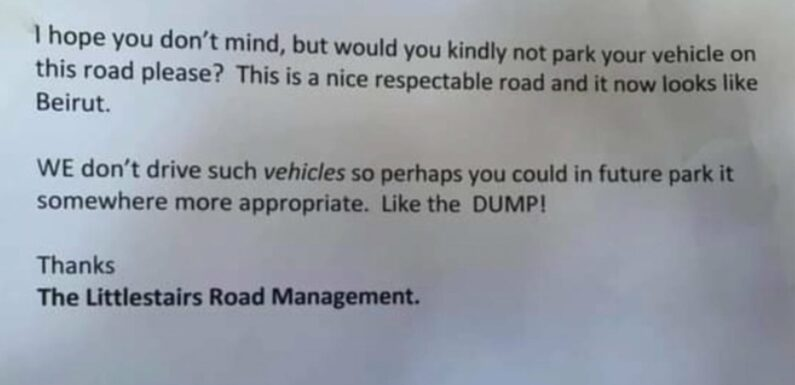 Awful Neighbor Leaves Note on Economy Car Saying It Doesn't Belong on a 'Respectable' Street