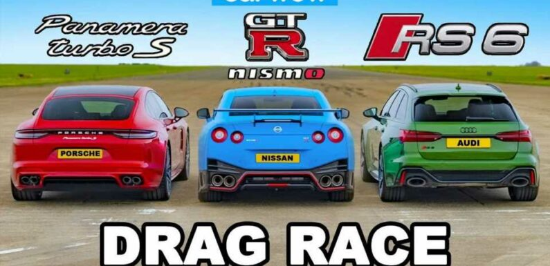 Porsche Panamera Turbo S E-Hybrid Vs Audi RS6 Vs Nissan GT-R Nismo Drag Race
