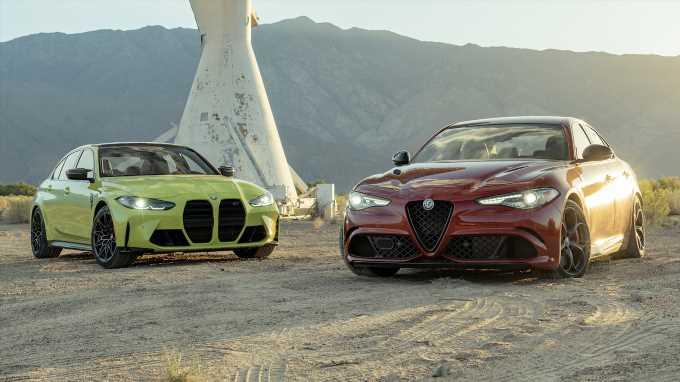 2021 BMW M3 Competition vs. Alfa Romeo Giulia Quadrifoglio Comparison Test: Four-Door Fire