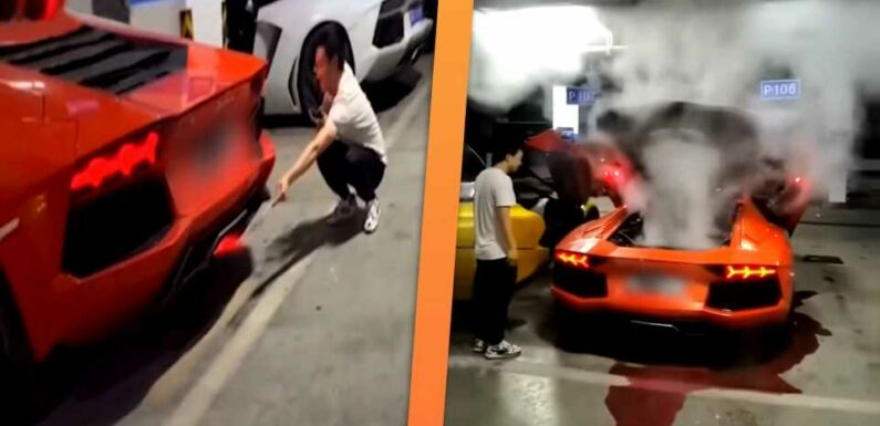 Lamborghini Aventador Goes up in Smoke After Man Uses Flaming Exhaust to Cook a Kebab