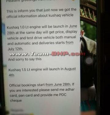 Rumour: Skoda Kushaq 1.5L TSI will only arrive in August 2021
