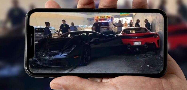 See Three Ferraris Crash Into Each Other On Philadelphia Expressway