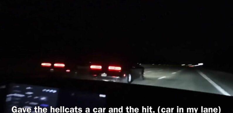 Watch Tesla Model S Plaid Take On 900 HP Hellcats