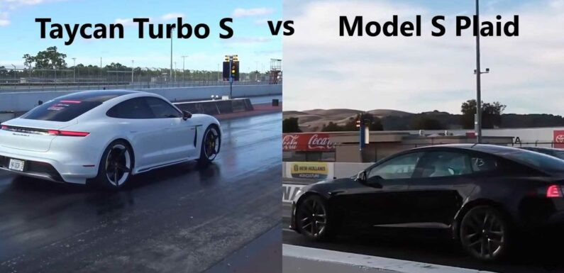 Watch This: Tesla Model S Plaid vs Porsche Taycan Turbo S