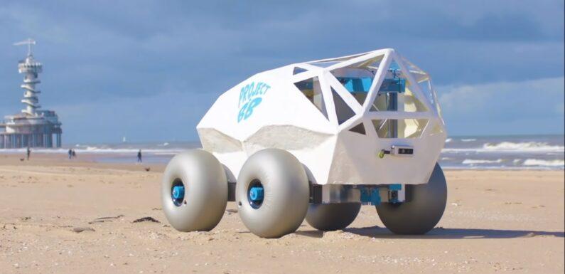 BeachBot AI Robot by TechTics Cleans Cigarette Butts at Beach