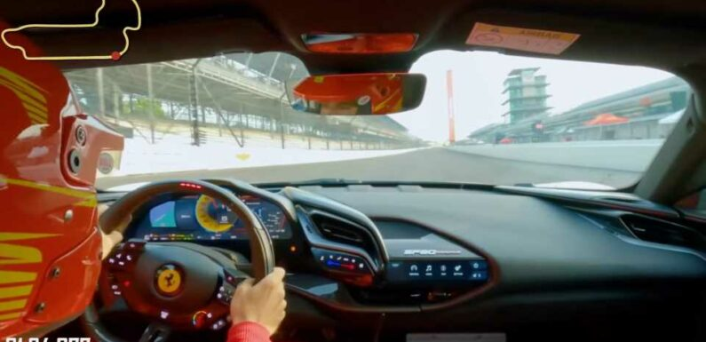 Watch a 986-HP Ferrari SF90 Stradale Break the Road Course Record at Indy