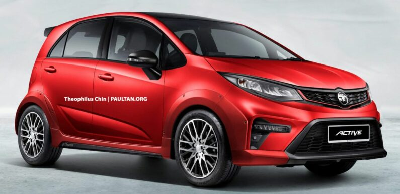 2022 Proton Iriz Active rendered with body-coloured fenders, bigger wheels, no roof rails – looks better? – paultan.org