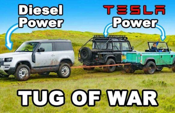 Tug Of War: Diesel Land Rover Defender Vs Tesla-Powered Defender