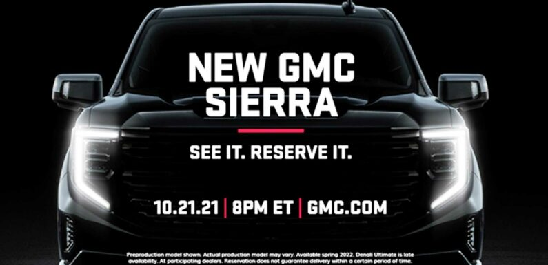 2022 GMC Sierra Teaser Shows Refreshed Face, Debuts October 21