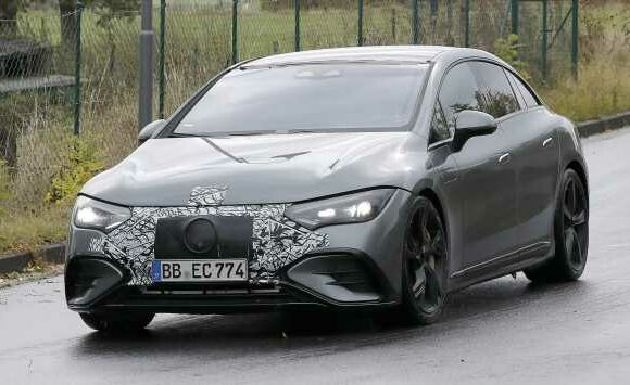 New 2022 Mercedes-AMG EQE spotted wearing minimal camouflage