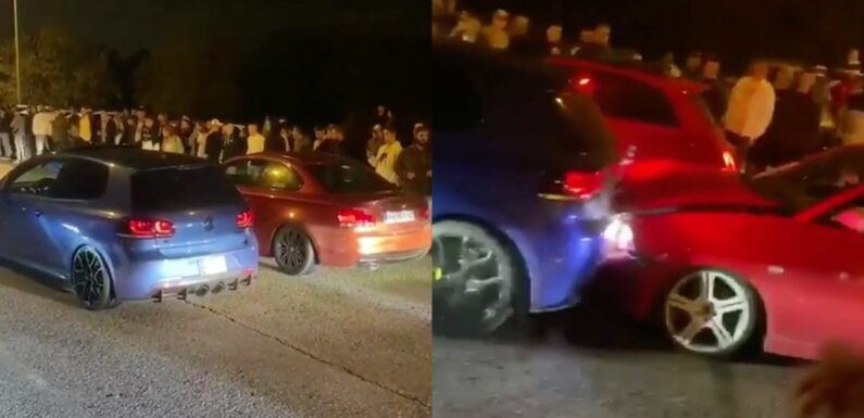 Street Racing VW Golf R Leaves The Line Backwards, With Smashy Consequences